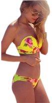 Ninimour Womens 2PC Floral Print Cross Bandage Aztec Swimwear