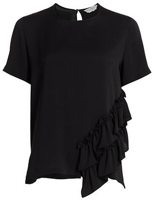 Max Mara Asymmetric Ruffle Silk T-Shirt