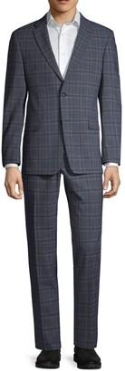 Tommy Hilfiger Regular Stretch-Fit Windowpane Wool-Blend Suit