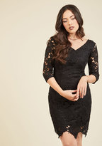 Pleased to Partake Lace Dress in Noir in S
