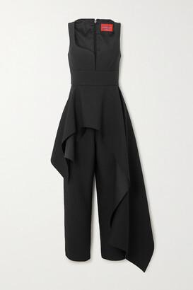SOLACE London Rena Asymmetric Crepe Jumpsuit - Black