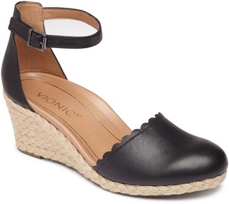 Vionic Leather Espadrille Wedges - Anna