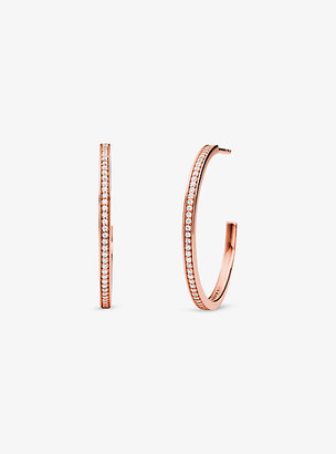 Michael Kors Precious Metal-Plated Sterling Silver Pave Hoop Earrings - Rose Gold