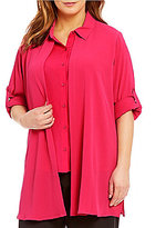 Calvin Klein Plus Double Layer Roll-Tab Sleeve Blouse