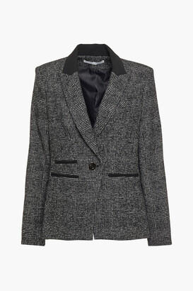 Veronica Beard Gia Crepe-trimmed Prince Of Wales Checked Jacquard Blazer