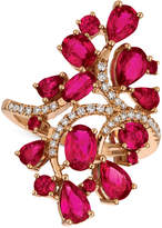LeVian Le Vian Certified Passion Ruby (4-1/4 ct. t.w.) & Diamond (1/5 ct. t.w.) Ring in 14k Rose Gold