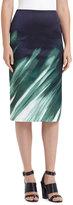 Lafayette 148 New York Printed Modern Slim Skirt, Green