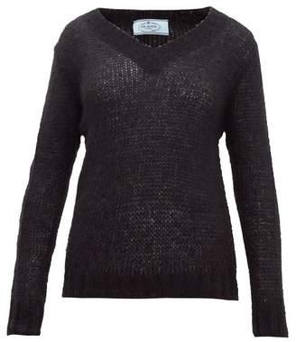 Prada Open-knit Mohair-blend Sweater - Womens - Black