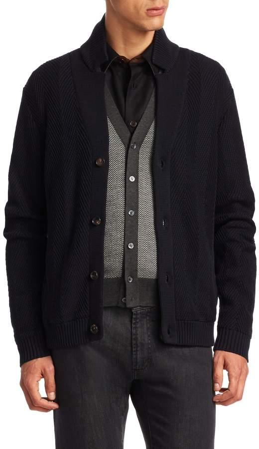 Luciano Barbera Men's Herringbone Cotton Cardigan