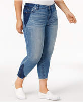 Celebrity Pink Trendy Plus Size Shadow-Spliced Skinny Jeans