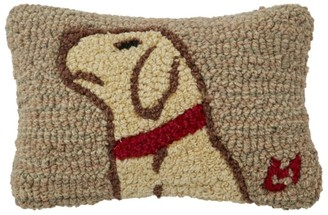 L.L. Bean Wool Hooked Throw Pillow, Begging Yellow Lab