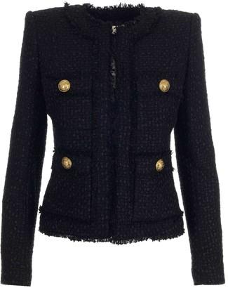 Balmain Collarless Tweed Jacket