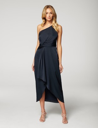 Forever New Haidee One-Shoulder Midi Dress - Navy - 10