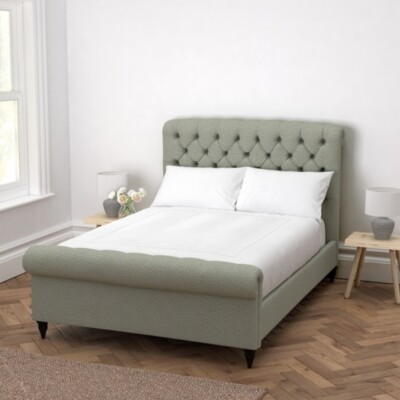 The White Company Aldwych Scroll Deep Buttoned Bed, Light Grey Wool, Emperor