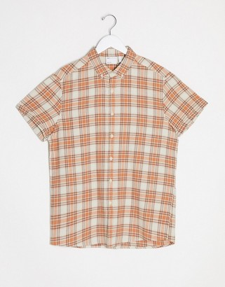 ASOS DESIGN regular fit summer check shirt in orange