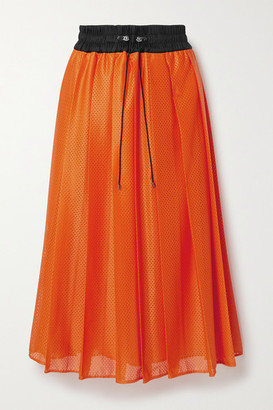 Moncler Shell-trimmed Pleated Mesh Midi Skirt - Orange