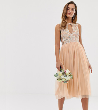 Maya Bridesmaid delicate sequin midi skater dress with keyhole detail in soft peach-Pink