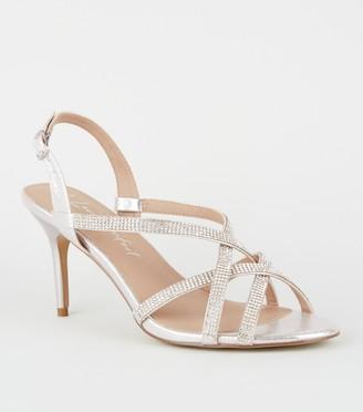 New Look Wide Fit Metallic Diamante Strappy Stilettos