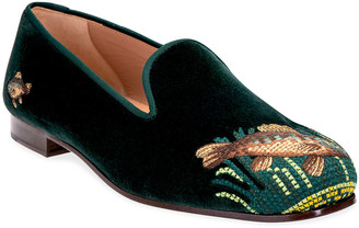 Stubbs And Wootton Perch Hunter Fish Embroidered Velvet Slipper Loafers