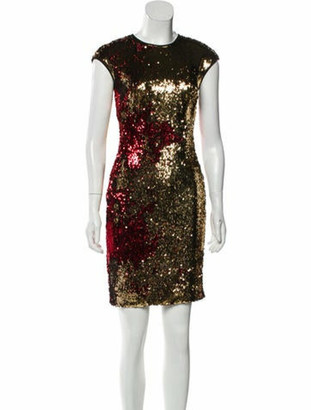 Naeem Khan Sequin Embellished Mini Dress gold