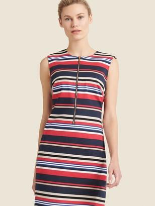 DKNY Donna Karan Women's Striped Sheath Dress With Zipper Detail - Pomegranate Deep Sky Comb - Size 4