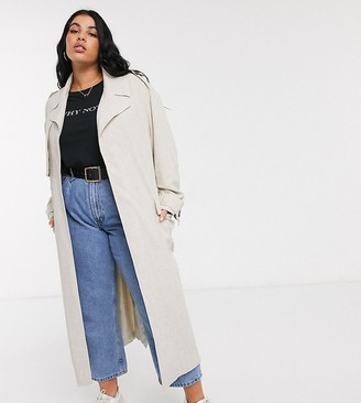 ASOS DESIGN Curve luxe oversized linen look trench coat in cream