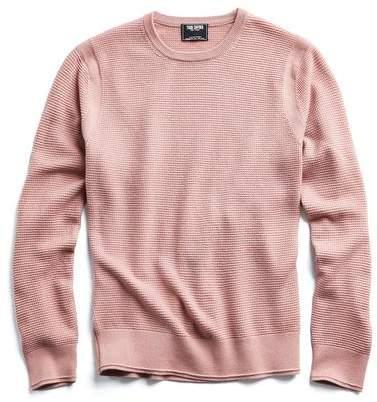 Todd Snyder Merino Waffle Crewneck Sweater in Rose Quartz