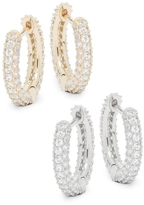 Adriana Orsini 2-Piece Goldtone Crystal Huggie Hoop Earring Set