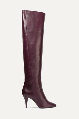 Saint Laurent Kiki Leather Over-the-knee Boots - Burgundy