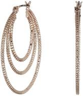 GUESS Textured 3 Ring Snap Hoop Earrings