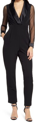 Eliza J Long Sleeve Shawl Collar Tuxedo Jumpsuit