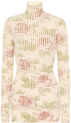 Paco Rabanne Floral cotton turtleneck top