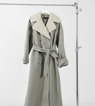 Asos Tall ASOS DESIGN Tall borg collared belted maxi coat in mushroom