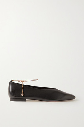 PORTE & PAIRE Chain-embellished Leather Ballet Flats - Black