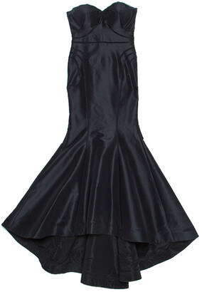 Zac Posen Black Silk Strapless Mermaid Gown L