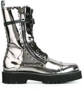 Dolce & Gabbana metallic combat boots - women - Calf Leather/Leather/rubber - 36