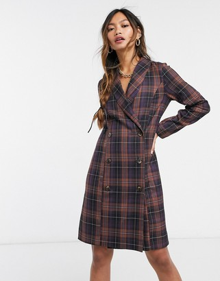 Closet London long sleeve blazer dress with gold button detail in mixed check