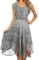 Sakkas 123 Sundara Stonewashed Rayon Mid Length Dress