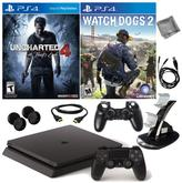 "Sony PlayStation 4 PS4 Slim 500GB Console with ""Uncharted 4,"" ""Watch Dogs 2"" and Accessory Kit"