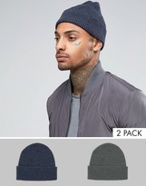 Asos Fisherman Beanie 2 Pack In Gray And Denim SAVE