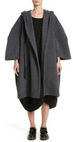 Comme des Garcons Women's Long Hooded Wool Blend Coat