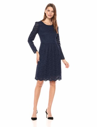 Lark & Ro Amazon Brand Women's Long Sleeve Gathered Lace Fit and Flare Dress
