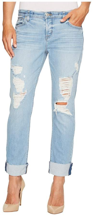 Hudson Riley Crop Relaxed Straight Raw Cuffed in Push N Shove Women's Jeans
