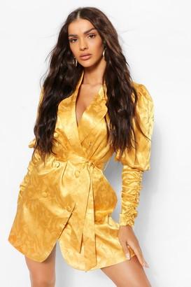 boohoo Satin Jacquard Ruched Sleeve Blazer Dress