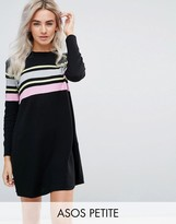 Asos Knitted Swing Dress With Stripe