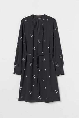 H&M Tie-detail Dress - Gray