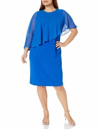 Calvin Klein Women's Plus Size Chiffon Popover Cape Sheath Dress