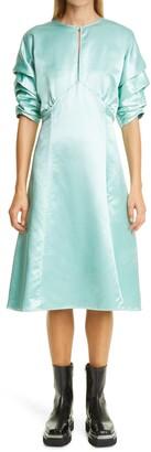 Meryll Rogge Gathered Sleeve Sateen Dress