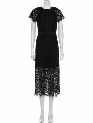 Rachel Zoe Lace Pattern Long Dress Black