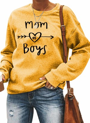 FOBEXISS Womens Mother's Day Shirts Letters Heart Pattern Print Long Sleeve Crew Neck Pullover Top